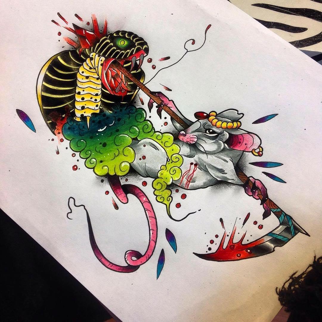 益先生眼镜蛇兔子纹身手稿
