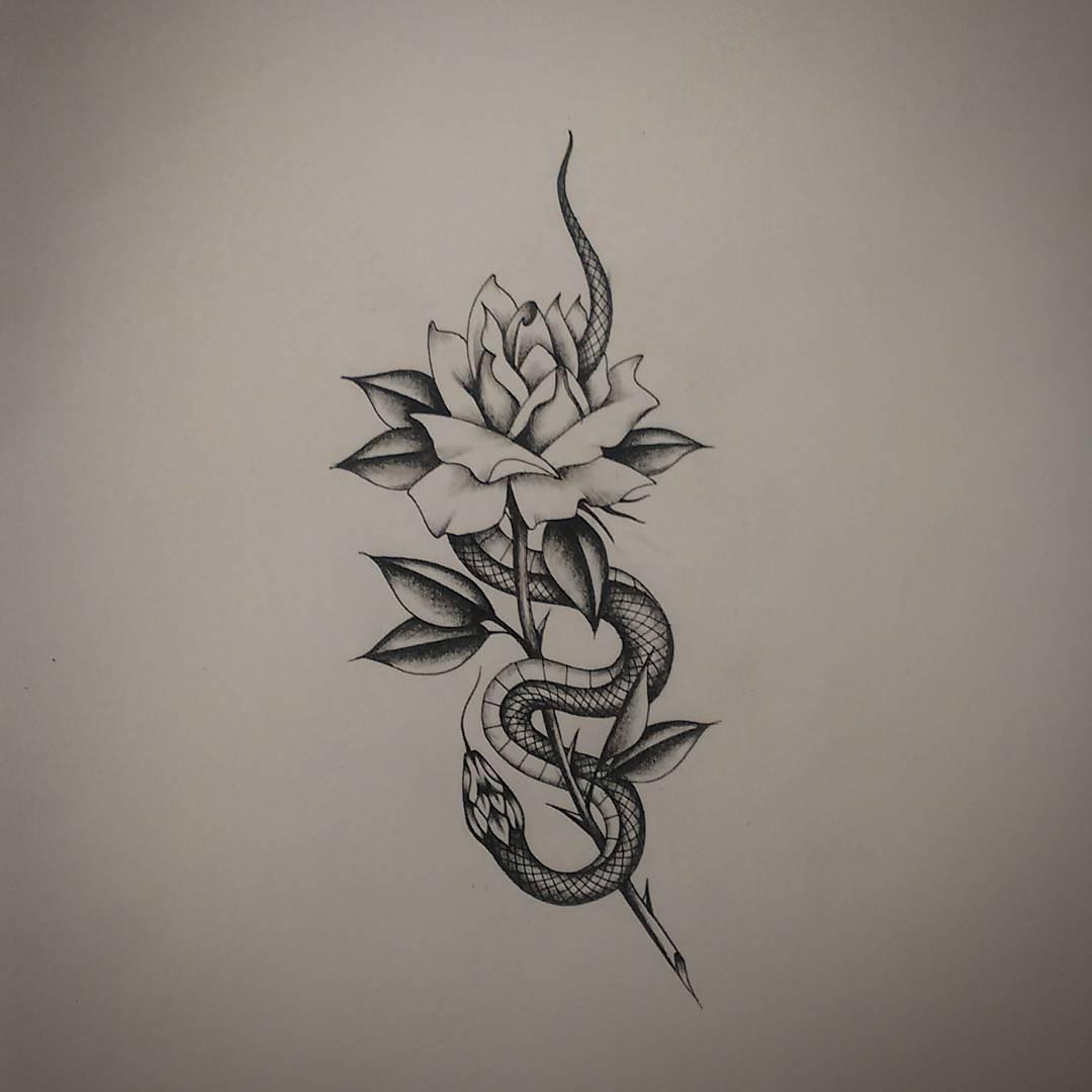 做工业品原材料的陈先生玫瑰蛇纹身手稿