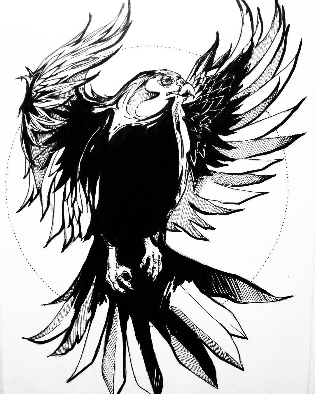 搞数码产品店的奚先生鹰纹身手稿